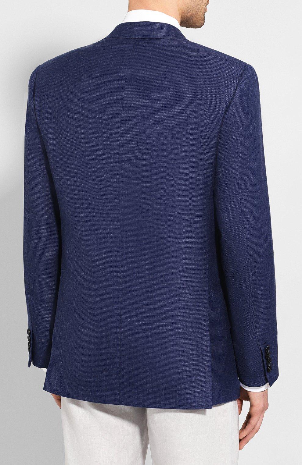 Мужской пиджак из смеси шерсти и шелка BRIONI темно-синего цвета, арт. RGH00Q/P9A54/PARLAMENT0   Фото 4