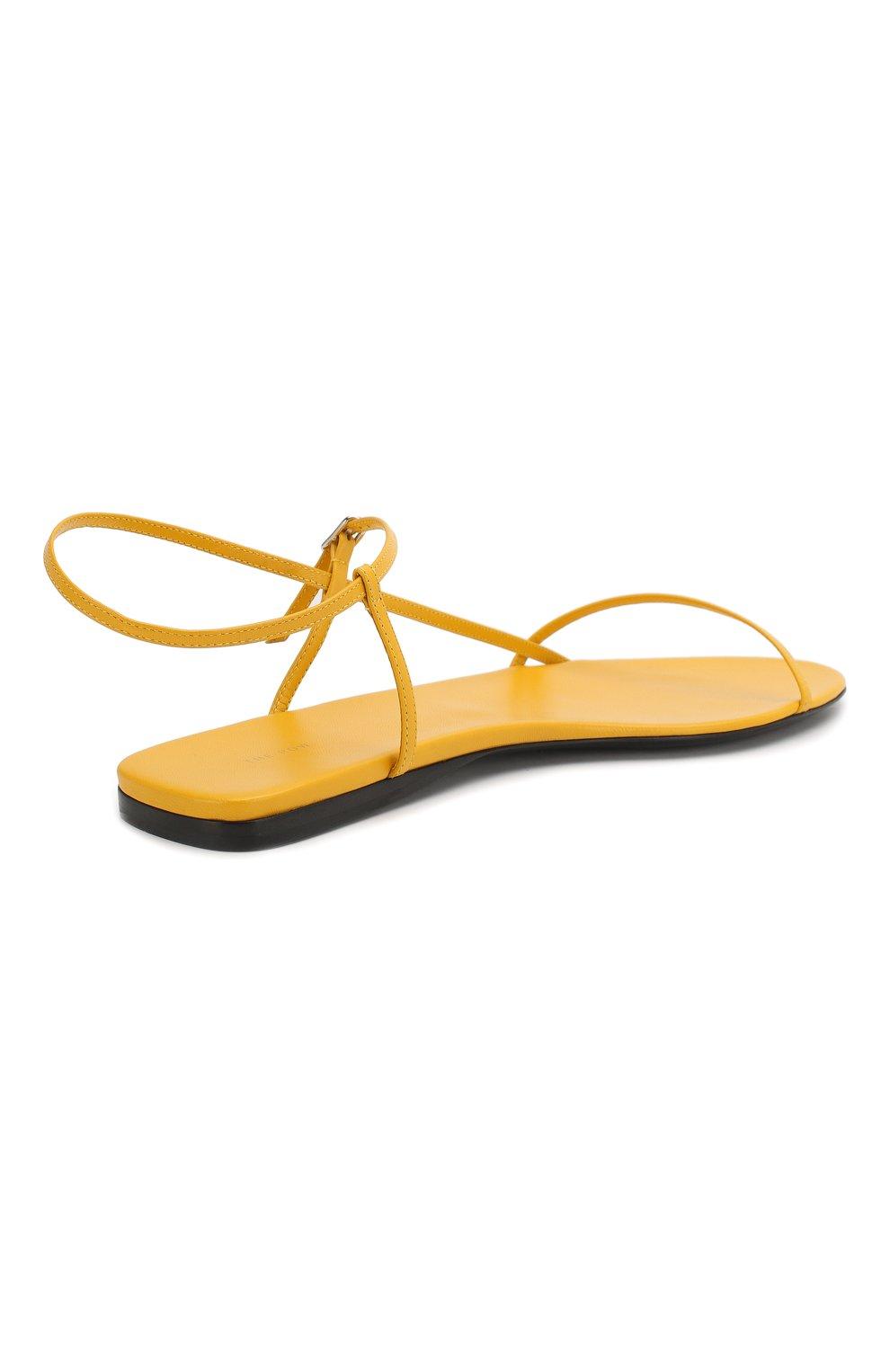 Женские кожаные сандалии bare THE ROW желтого цвета, арт. F1136-L35   Фото 4