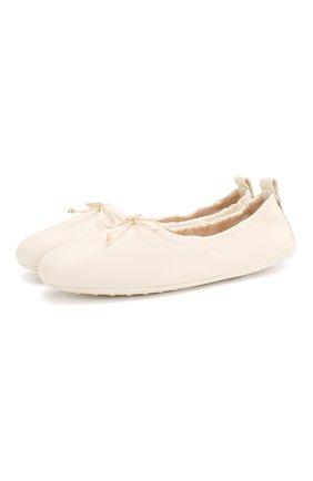 Женские кожаные балетки TOD'S белого цвета, арт. XXW12C0CJ60S0M | Фото 1