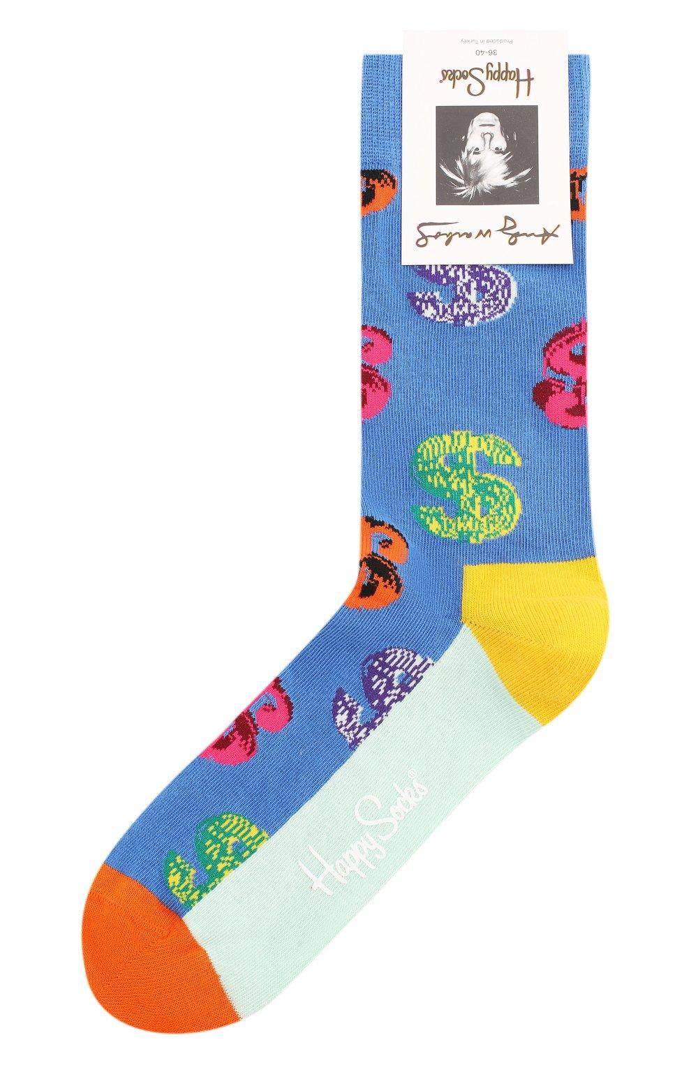 Женские носки andy warhol dollar sock HAPPY SOCKS разноцветного цвета, арт. AWDOL01   Фото 1 (Материал внешний: Хлопок)