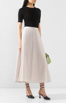 Женская юбка LORENA ANTONIAZZI бежевого цвета, арт. E2003G0009/3193 | Фото 2 (Женское Кросс-КТ: Юбка-одежда; Материал внешний: Хлопок; Длина Ж (юбки, платья, шорты): Миди)