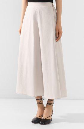 Женская юбка LORENA ANTONIAZZI бежевого цвета, арт. E2003G0009/3193 | Фото 3 (Женское Кросс-КТ: Юбка-одежда; Материал внешний: Хлопок; Длина Ж (юбки, платья, шорты): Миди)