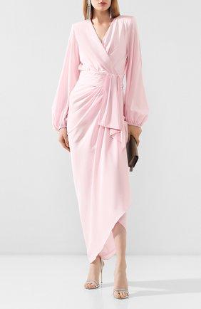 Женское шелковое платье ALEXANDRE VAUTHIER розового цвета, арт. 202DR1298 1274-202   Фото 2 (Материал внешний: Шелк; Материал подклада: Шелк; Рукава: Длинные; Женское Кросс-КТ: Платье-одежда; Случай: Коктейльный)