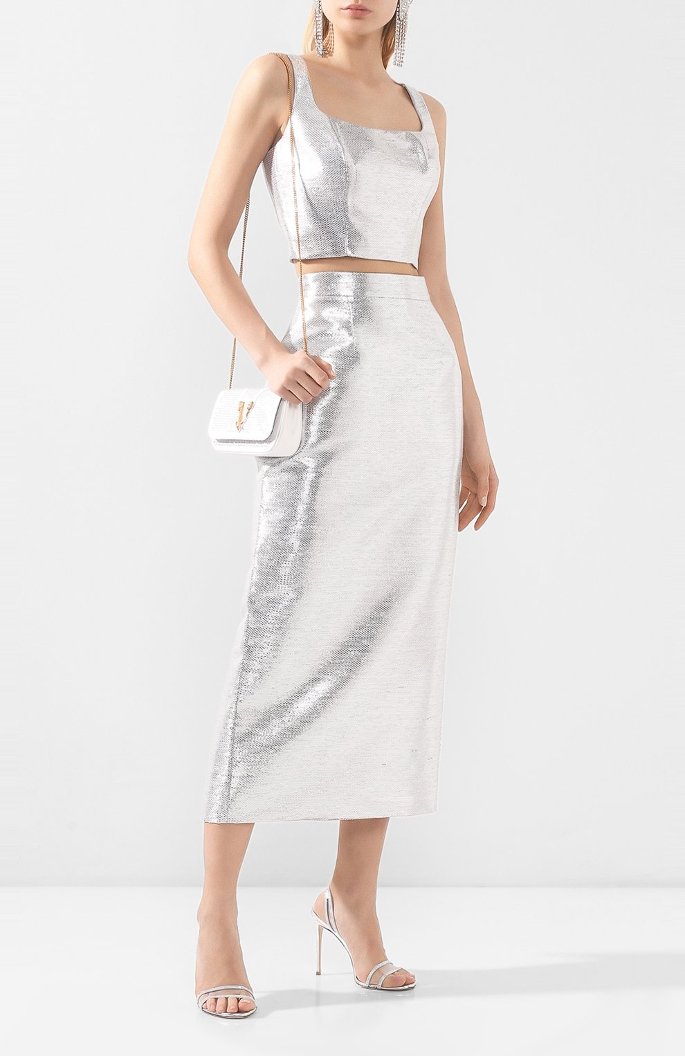 Женская юбка BRANDON MAXWELL серебряного цвета, арт. SK126SS20   Фото 2 (Материал внешний: Синтетический материал, Хлопок; Женское Кросс-КТ: Юбка-одежда; Длина Ж (юбки, платья, шорты): Миди; Материал подклада: Синтетический материал)