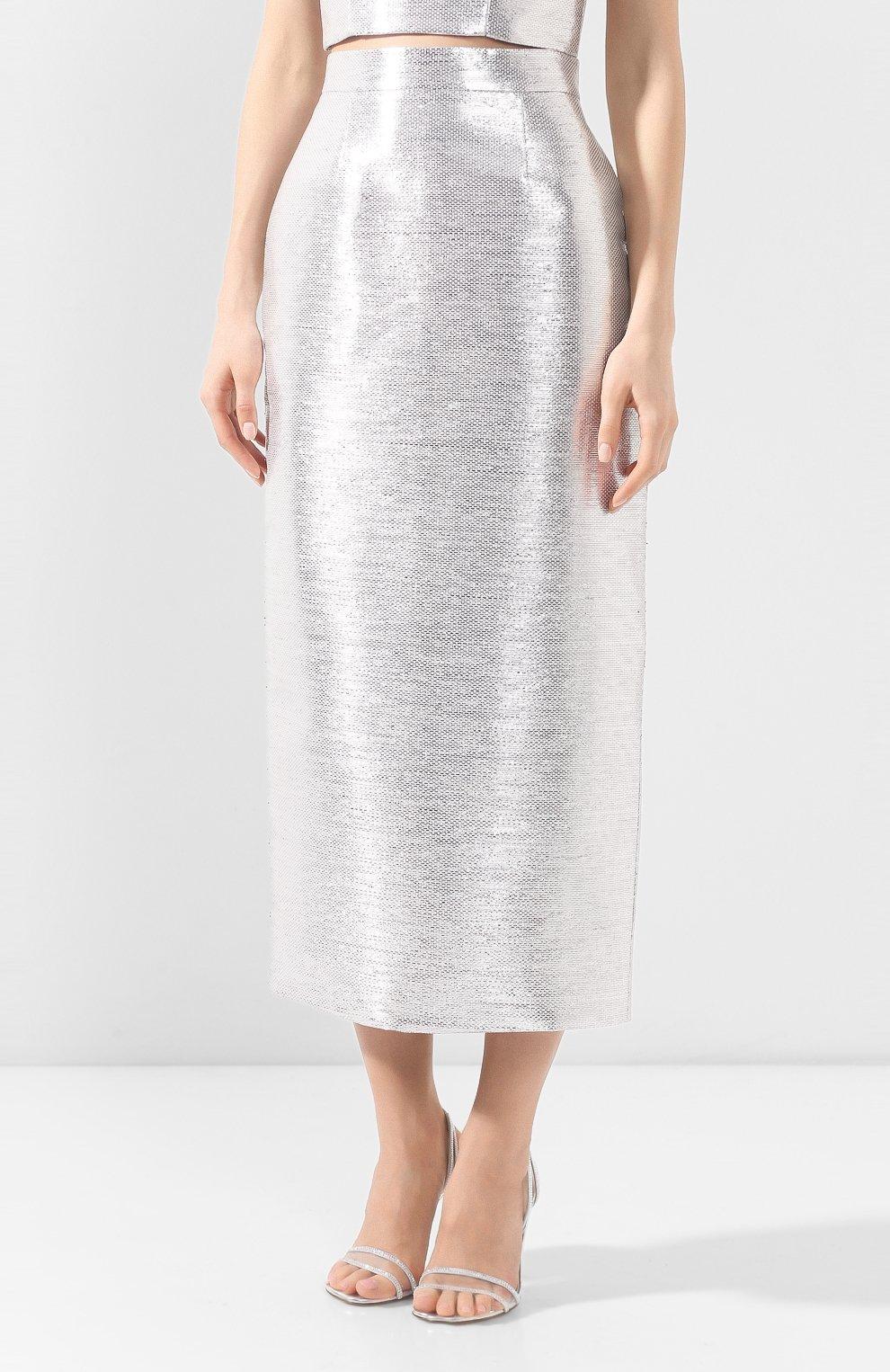 Женская юбка BRANDON MAXWELL серебряного цвета, арт. SK126SS20   Фото 3 (Материал внешний: Синтетический материал, Хлопок; Женское Кросс-КТ: Юбка-одежда; Длина Ж (юбки, платья, шорты): Миди; Материал подклада: Синтетический материал)