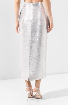 Женская юбка BRANDON MAXWELL серебряного цвета, арт. SK126SS20   Фото 4 (Материал внешний: Синтетический материал, Хлопок; Женское Кросс-КТ: Юбка-одежда; Длина Ж (юбки, платья, шорты): Миди; Материал подклада: Синтетический материал)
