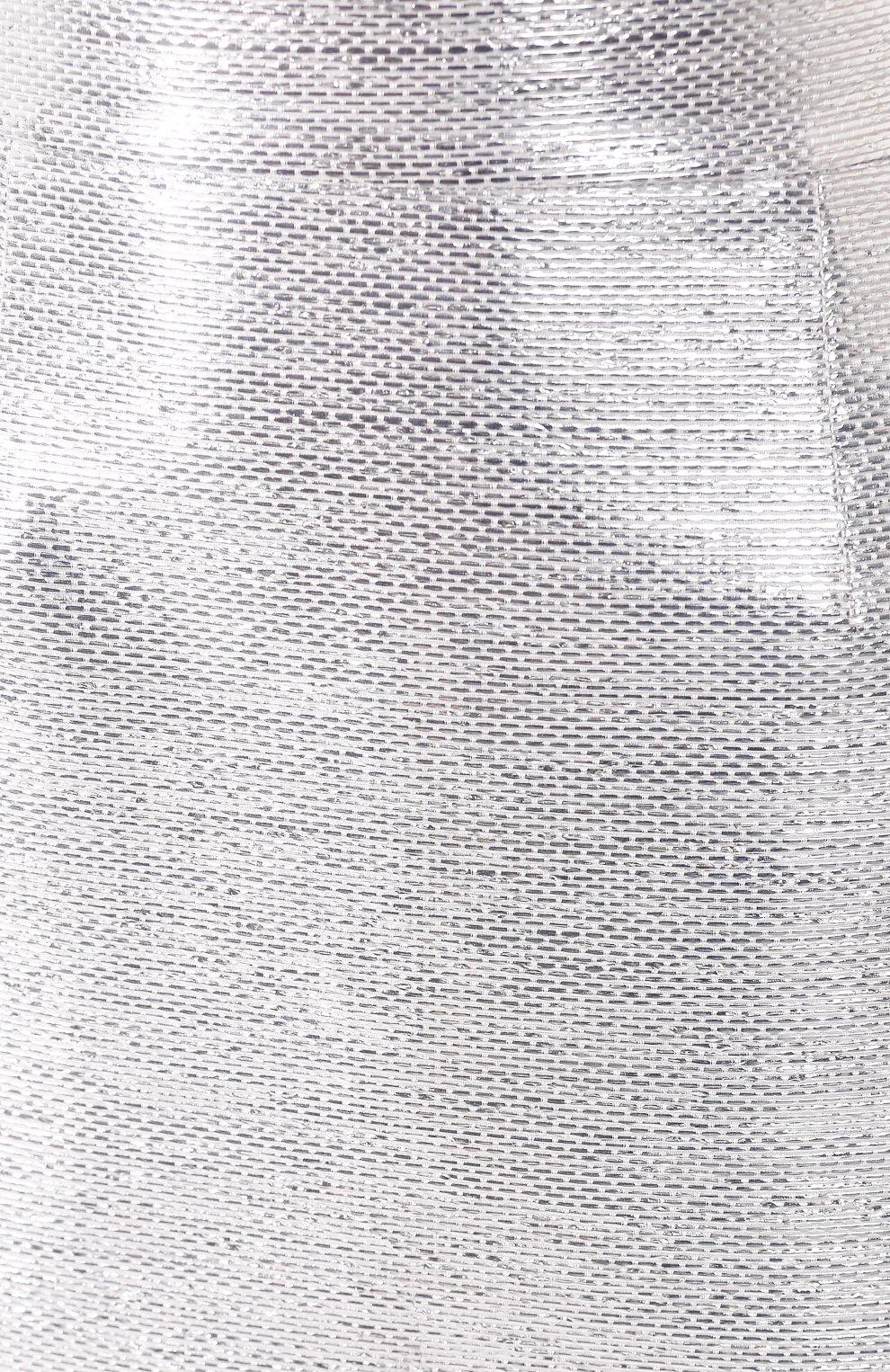 Женская юбка BRANDON MAXWELL серебряного цвета, арт. SK126SS20   Фото 5 (Материал внешний: Синтетический материал, Хлопок; Женское Кросс-КТ: Юбка-одежда; Длина Ж (юбки, платья, шорты): Миди; Материал подклада: Синтетический материал)
