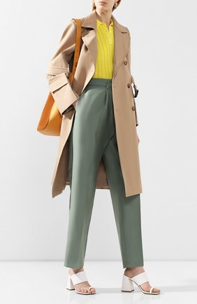 Женские брюки из смеси шерсти и шелка HELMUT LANG зеленого цвета, арт. K01HW205 | Фото 2