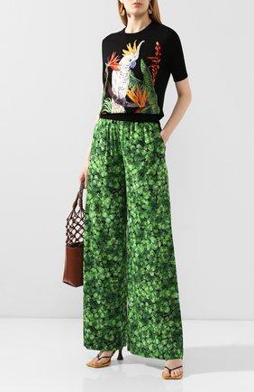 Женские шелковые брюки DOLCE & GABBANA зеленого цвета, арт. FTA0YT/FSAZP | Фото 2