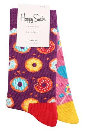 Детские комплект из 2 пар носков HAPPY SOCKS разноцветного цвета, арт. KDON02 | Фото 1