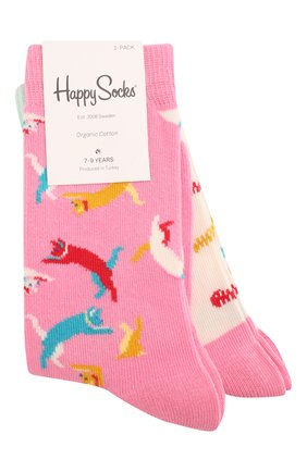 Детские комплект из 2 пар носков HAPPY SOCKS разноцветного цвета, арт. KCAT02 | Фото 1