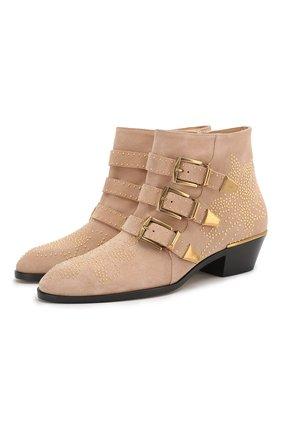 Женские замшевые ботинки susanna CHLOÉ бежевого цвета, арт. CHC17A13418 | Фото 1