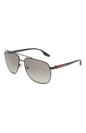 Мужские солнцезащитные очки PRADA LINEA ROSSA черного цвета, арт. 55VS-1AB3M1 | Фото 1