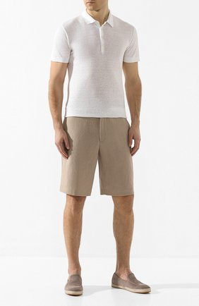 Мужское льняное поло 120% LINO белого цвета, арт. R0M7282/E908/S00 | Фото 2