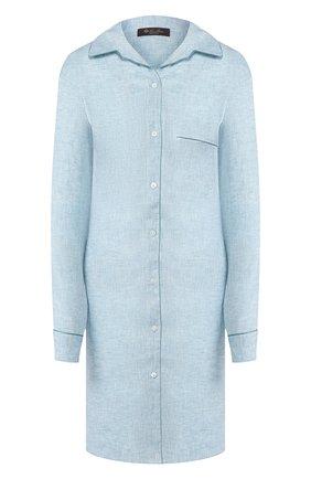 Женская льняная сорочка LORO PIANA голубого цвета, арт. FAL1537   Фото 1