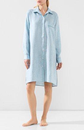 Женская льняная сорочка LORO PIANA голубого цвета, арт. FAL1537   Фото 2