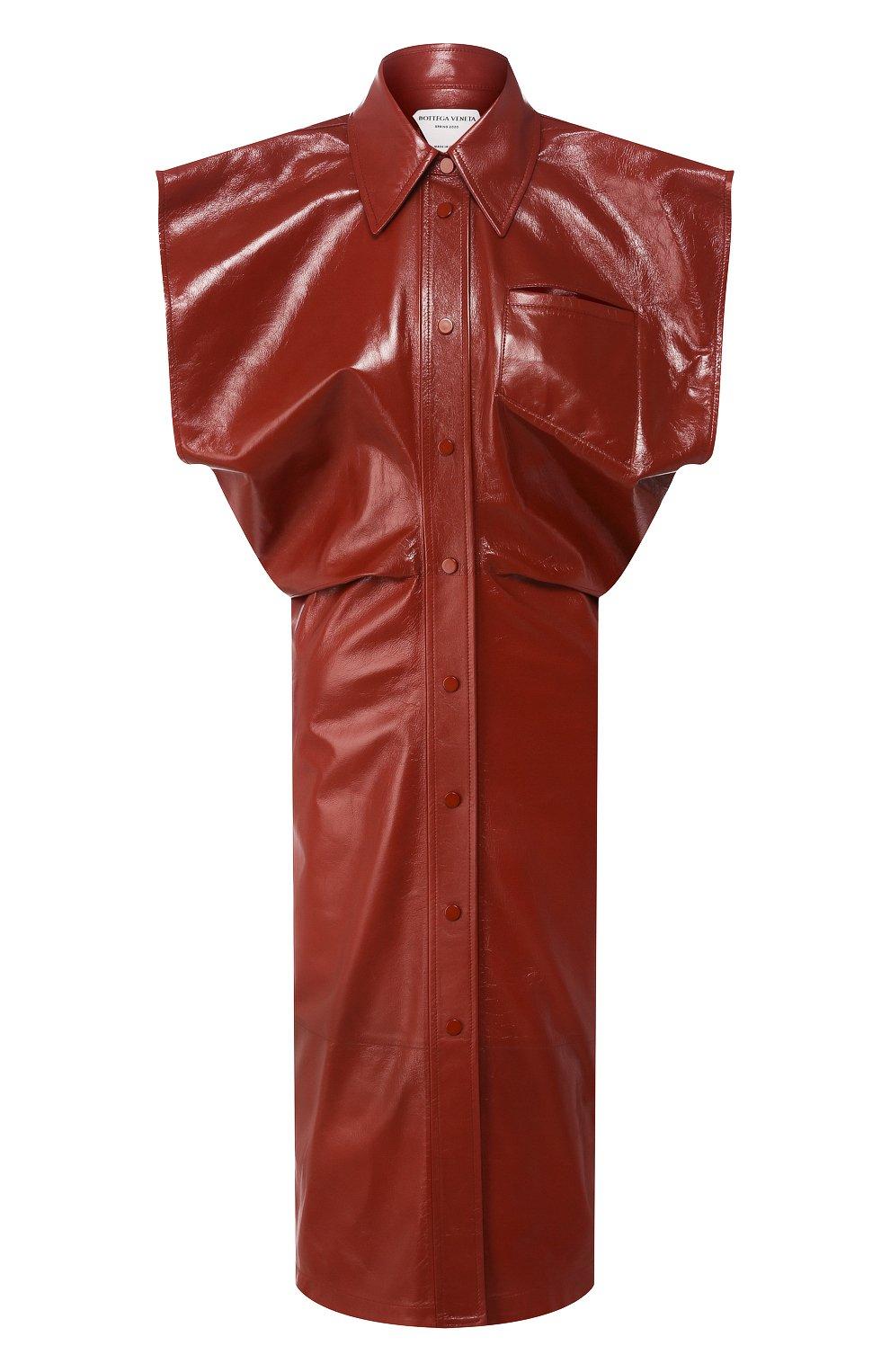 Женское кожаное платье BOTTEGA VENETA коричневого цвета, арт. 618440/VKLC0   Фото 1