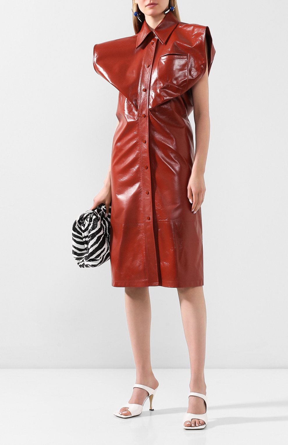 Женское кожаное платье BOTTEGA VENETA коричневого цвета, арт. 618440/VKLC0   Фото 2