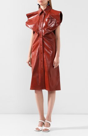 Женское кожаное платье BOTTEGA VENETA коричневого цвета, арт. 618440/VKLC0   Фото 3