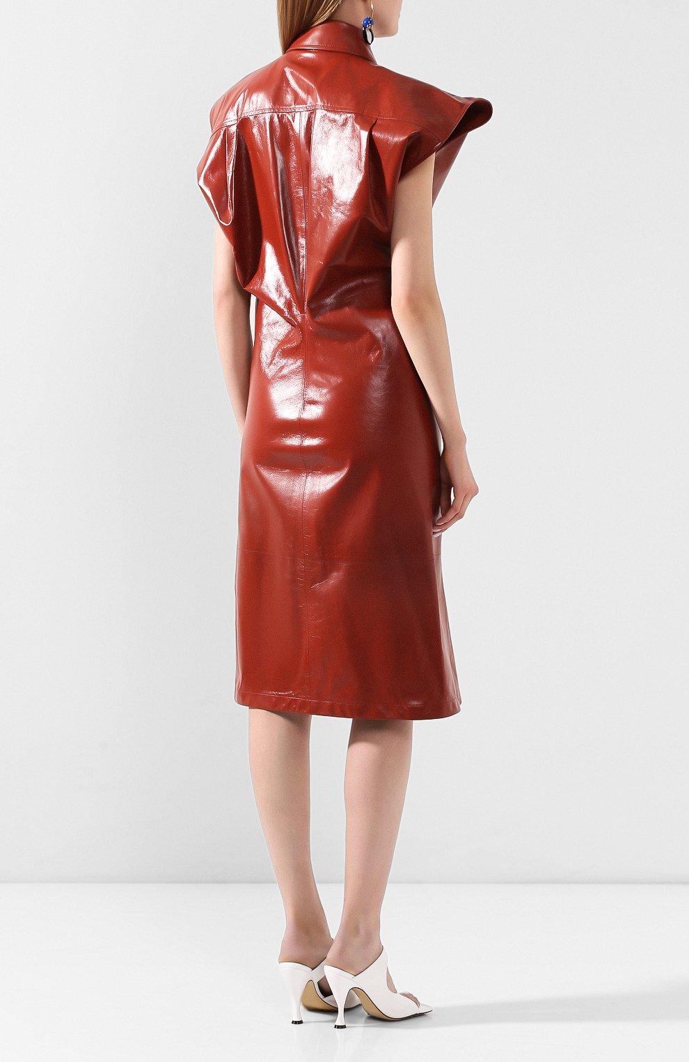 Женское кожаное платье BOTTEGA VENETA коричневого цвета, арт. 618440/VKLC0   Фото 4