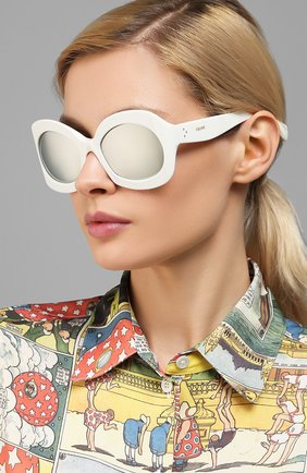 Женские солнцезащитные очки CELINE EYEWEAR белого цвета, арт. 40097I | Фото 2