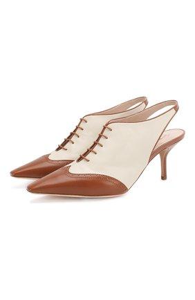 Женские кожаные туфли GIORGIO ARMANI коричневого цвета, арт. X1C200/XM401 | Фото 1 (Материал внутренний: Натуральная кожа; Подошва: Плоская; Каблук высота: Средний; Каблук тип: Шпилька)
