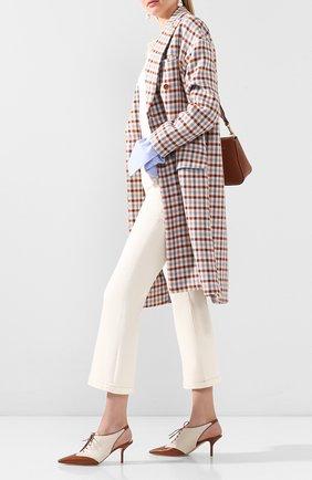 Женские кожаные туфли GIORGIO ARMANI коричневого цвета, арт. X1C200/XM401 | Фото 2 (Материал внутренний: Натуральная кожа; Подошва: Плоская; Каблук высота: Средний; Каблук тип: Шпилька)
