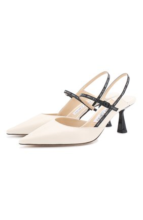 Женская кожаные туфли ray 65 JIMMY CHOO белого цвета, арт. RAY 65/JWR | Фото 1