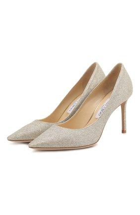 Женская туфли romy 85 с глиттером JIMMY CHOO серебряного цвета, арт. R0MY 85/DGZ | Фото 1