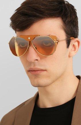 Мужские солнцезащитные очки DOLCE & GABBANA коричневого цвета, арт. 2258Q-02/7H | Фото 2