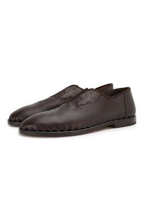 Мужские кожаные оксфорды GIORGIO ARMANI коричневого цвета, арт. X2J135/XF365 | Фото 1 (Материал внутренний: Натуральная кожа; Стили: Классический)