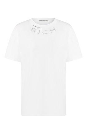 Женская хлопковая футболка ALESSANDRA RICH белого цвета, арт. FAB1895-F2876 | Фото 1