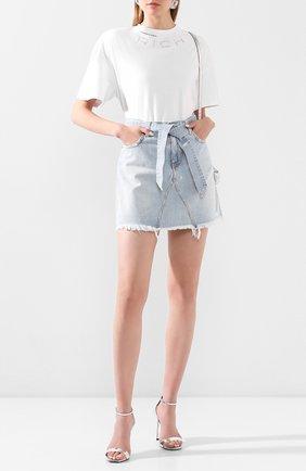 Женская хлопковая футболка ALESSANDRA RICH белого цвета, арт. FAB1895-F2876 | Фото 2