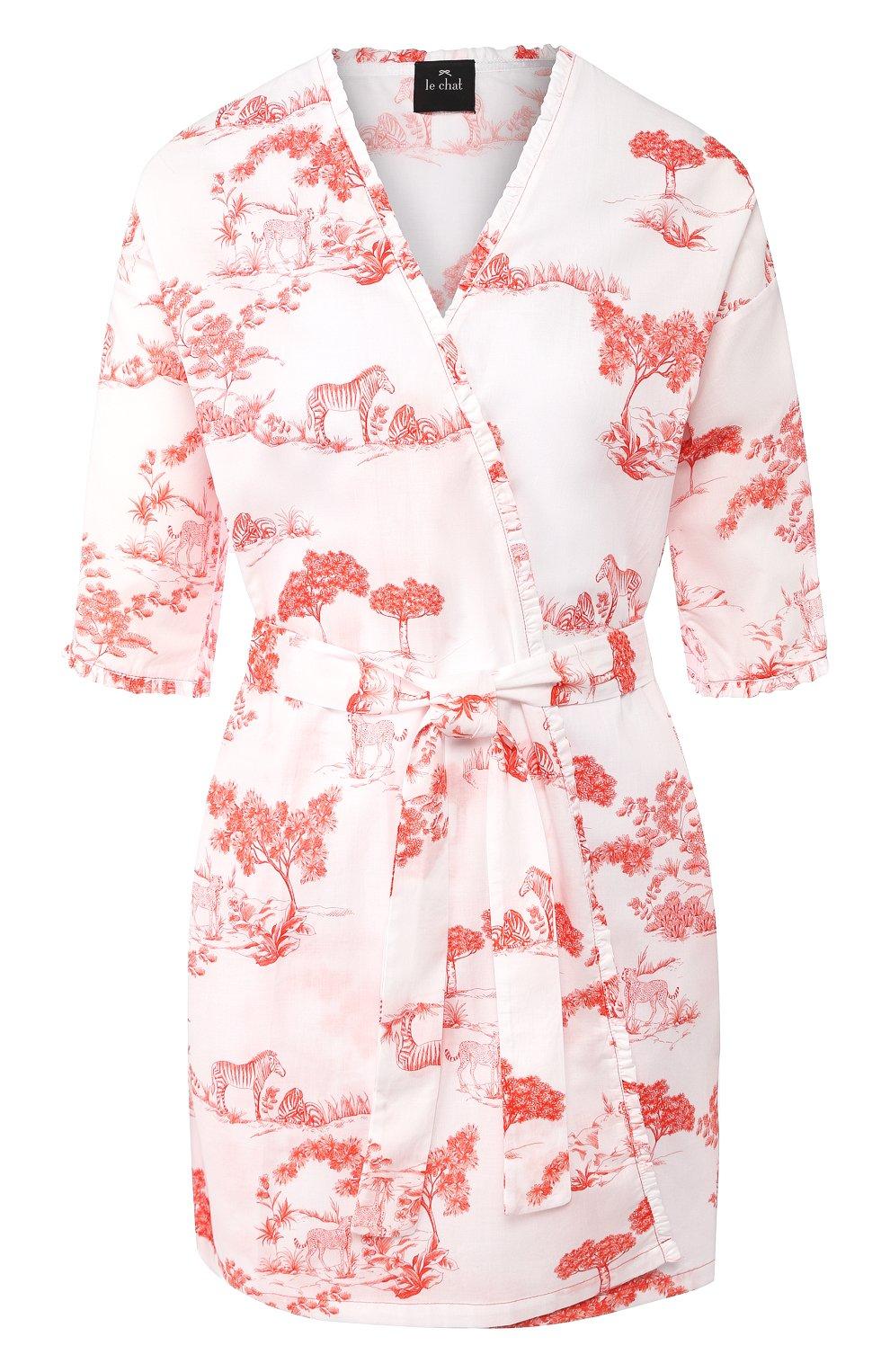 Женский хлопковый халат LE CHAT белого цвета, арт. HARMATTAN860   Фото 1