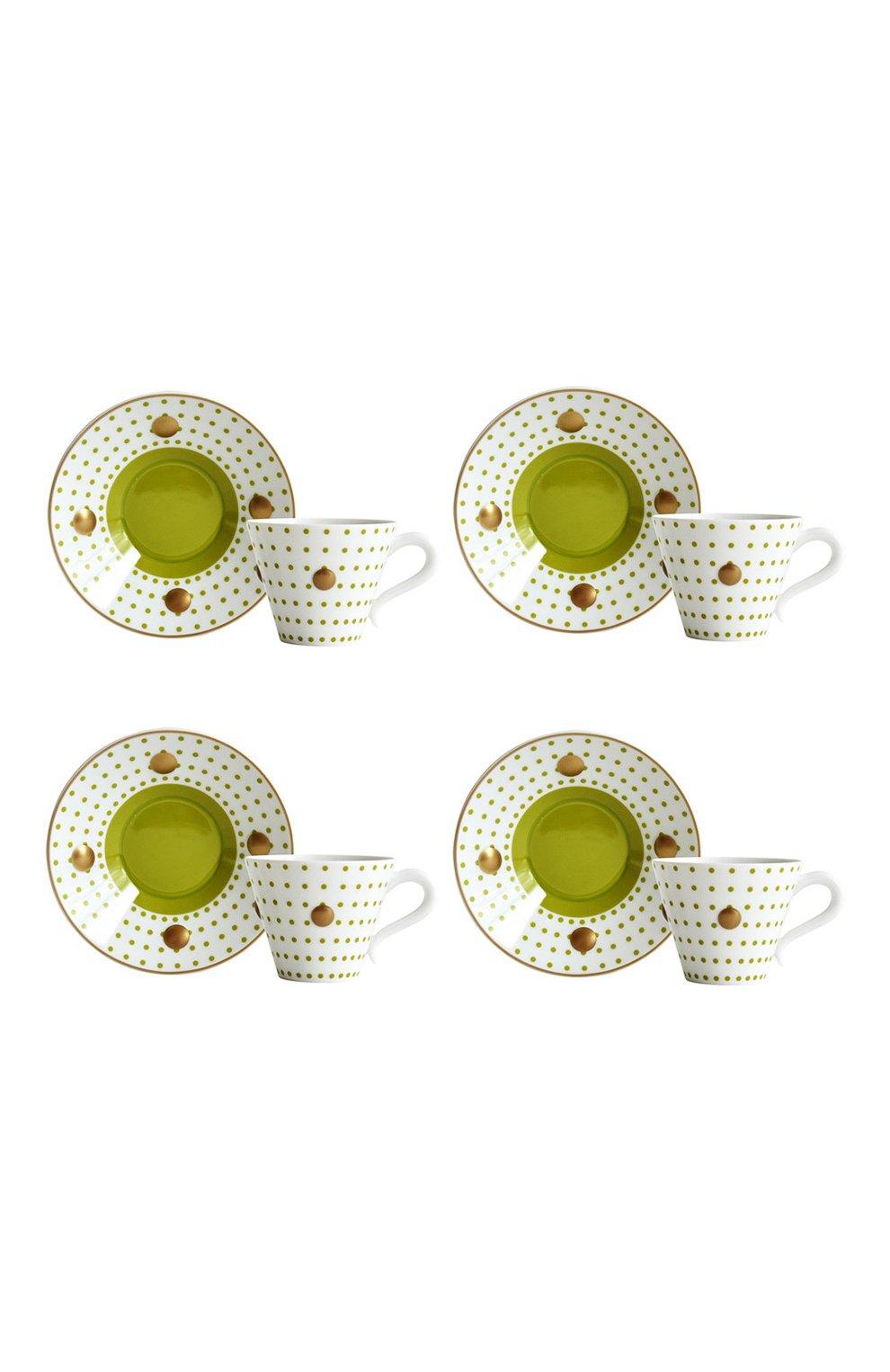Мужская набор knossos absinthe из четырех чашек с блюдцами BERNARDAUD зеленого цвета, арт. 1776/22968 | Фото 1