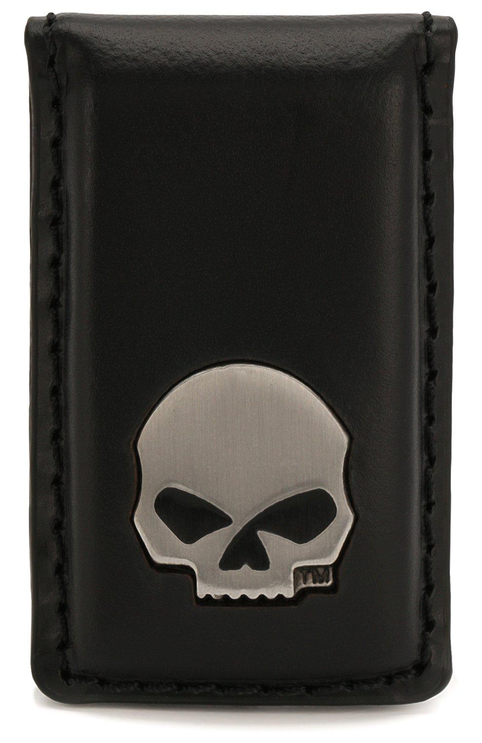 Мужской кожаный зажим для денег HARLEY-DAVIDSON черного цвета, арт. CORESM62-Black | Фото 1