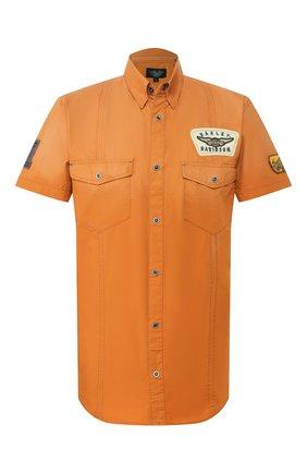 Мужская хлопковая рубашка black label HARLEY-DAVIDSON оранжевого цвета, арт. 96554-11VM | Фото 1