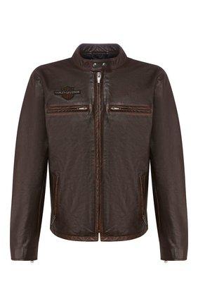 Мужская кожаная куртка 1903 HARLEY-DAVIDSON коричневого цвета, арт. 97015-20VM | Фото 1 (Материал подклада: Синтетический материал; Длина (верхняя одежда): Короткие; Мужское Кросс-КТ: Кожа и замша, Верхняя одежда, Куртка-верхняя одежда; Рукава: Длинные; Кросс-КТ: Куртка)