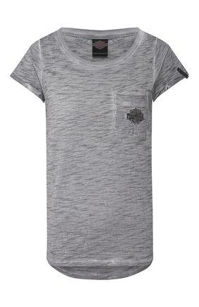 Женская хлопковая футболка black label HARLEY-DAVIDSON серого цвета, арт. 96361-16VW   Фото 1