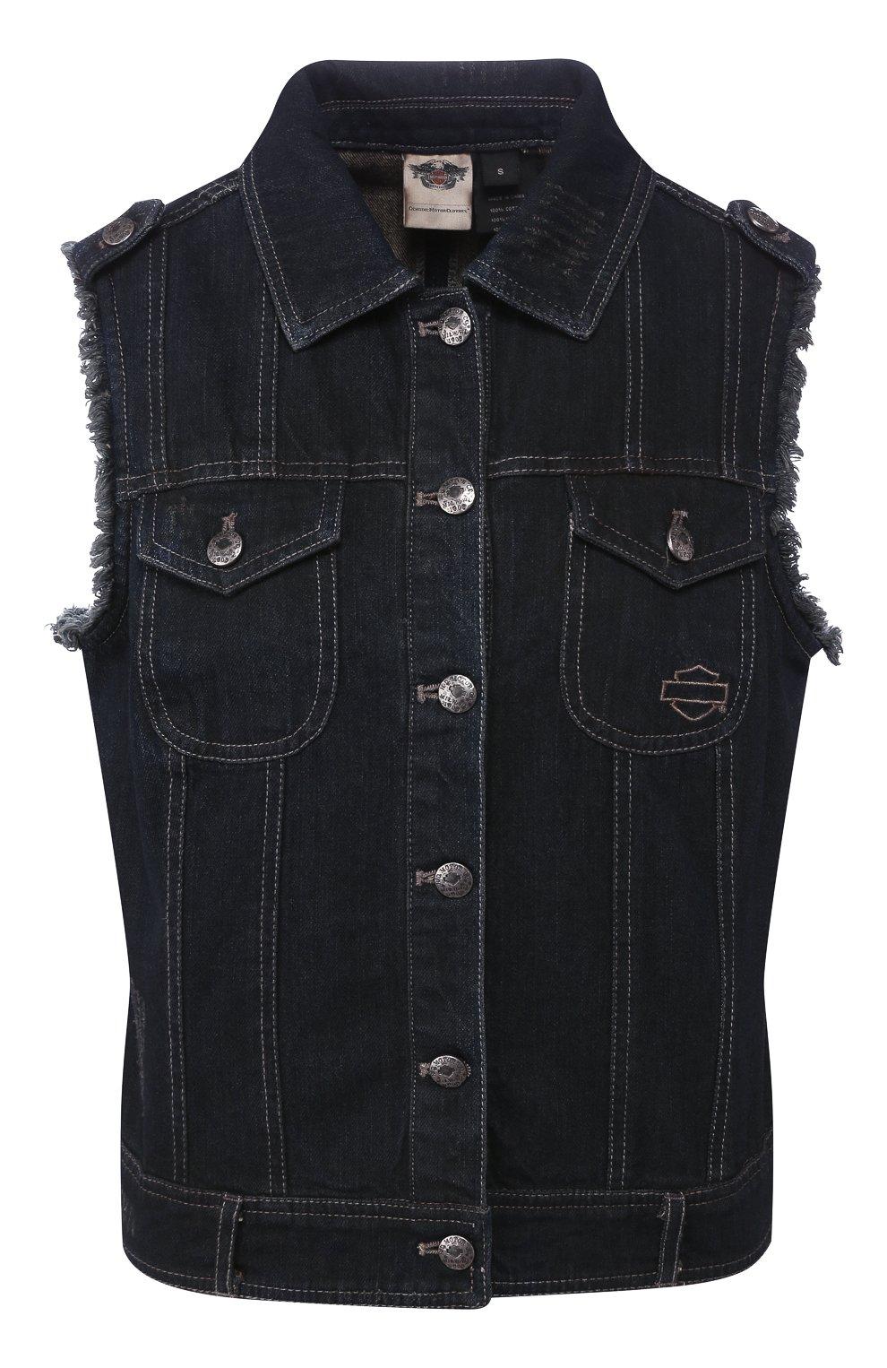 Женский джинсовый жилет genuine motorclothes HARLEY-DAVIDSON черного цвета, арт. 96152-17VW | Фото 1