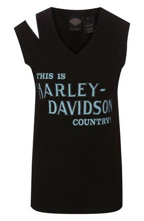 Женский хлопковый топ black label HARLEY-DAVIDSON черного цвета, арт. 96205-17VW | Фото 1