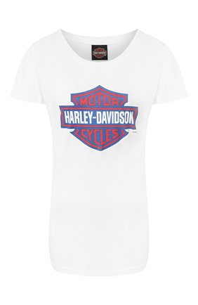 Женская хлопковая футболка exclusive for moscow HARLEY-DAVIDSON белого цвета, арт. 30298782   Фото 1