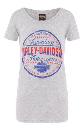 Женская хлопковая футболка exclusive for moscow HARLEY-DAVIDSON серого цвета, арт. 30292356 | Фото 1