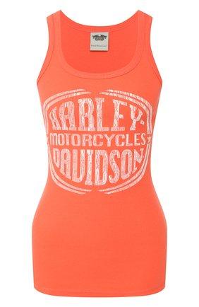Женский хлопковая майка genuine motorclothes HARLEY-DAVIDSON оранжевого цвета, арт. 96128-14VW   Фото 1