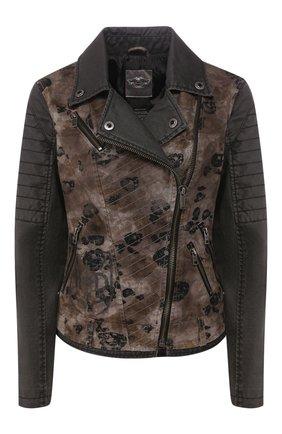 Женская джинсовая куртка genuine motorclothes HARLEY-DAVIDSON коричневого цвета, арт. 97554-16VW   Фото 1