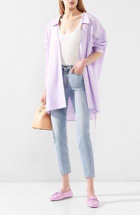 Женские кожаные мокасины heaven TOD'S розового цвета, арт. XXW0FW050305J1 | Фото 2