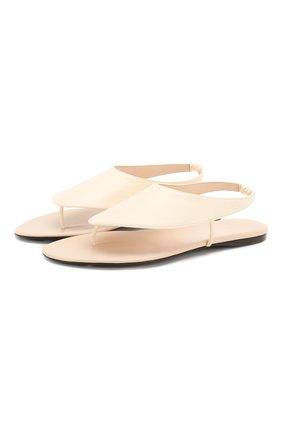 Женские кожаные сандалии THE ROW белого цвета, арт. F1155-L35 | Фото 1