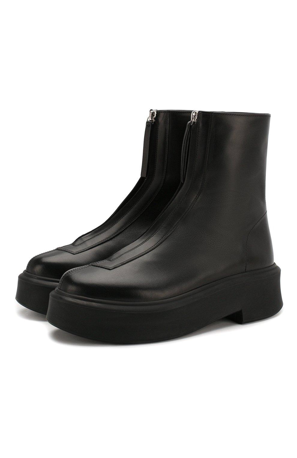 Женские кожаные ботинки THE ROW черного цвета, арт. F1144-L64R   Фото 1