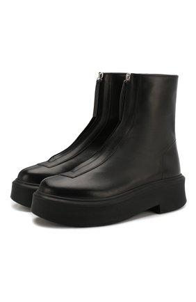 Женские кожаные ботинки THE ROW черного цвета, арт. F1144-L64R | Фото 1 (Материал внутренний: Натуральная кожа; Каблук высота: Низкий; Высота голенища: Низкие; Каблук тип: Устойчивый; Подошва: Платформа; Женское Кросс-КТ: Без шнуровки-ботинки)