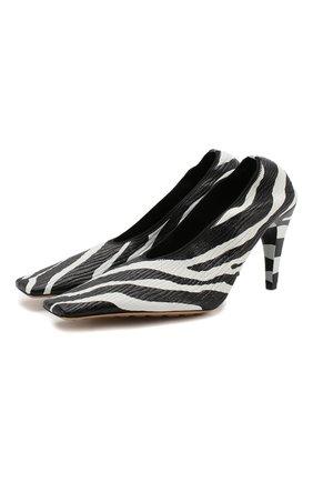 Женская кожаные туфли BOTTEGA VENETA черно-белого цвета, арт. 618782/VBTH0 | Фото 1